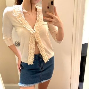 Ruffle Soft Cardigan Top